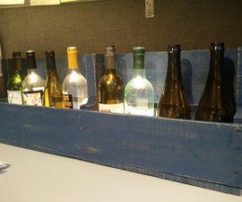 LED Lit Upcycled Wine Rack with Recycled Pallet and Bottles