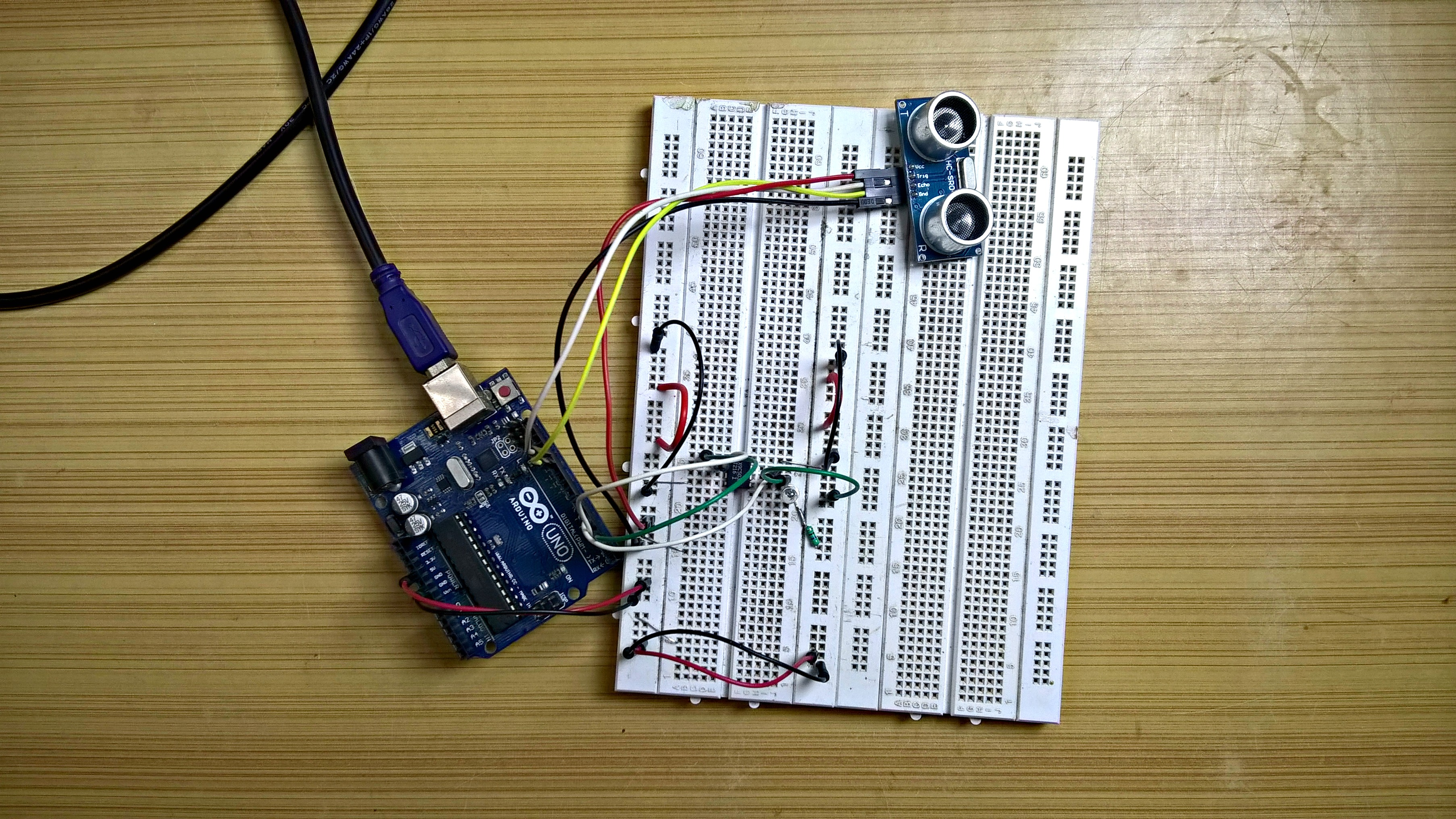 Picture of Ultrasonic Sensor and Digi Pot Working As One.
