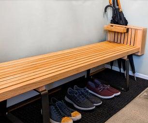 Modern Slatted Shoe Bench