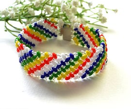 How to Make a Handmade Rainbow 2-Hole Seed Beaded Wide Bracelet for Summer