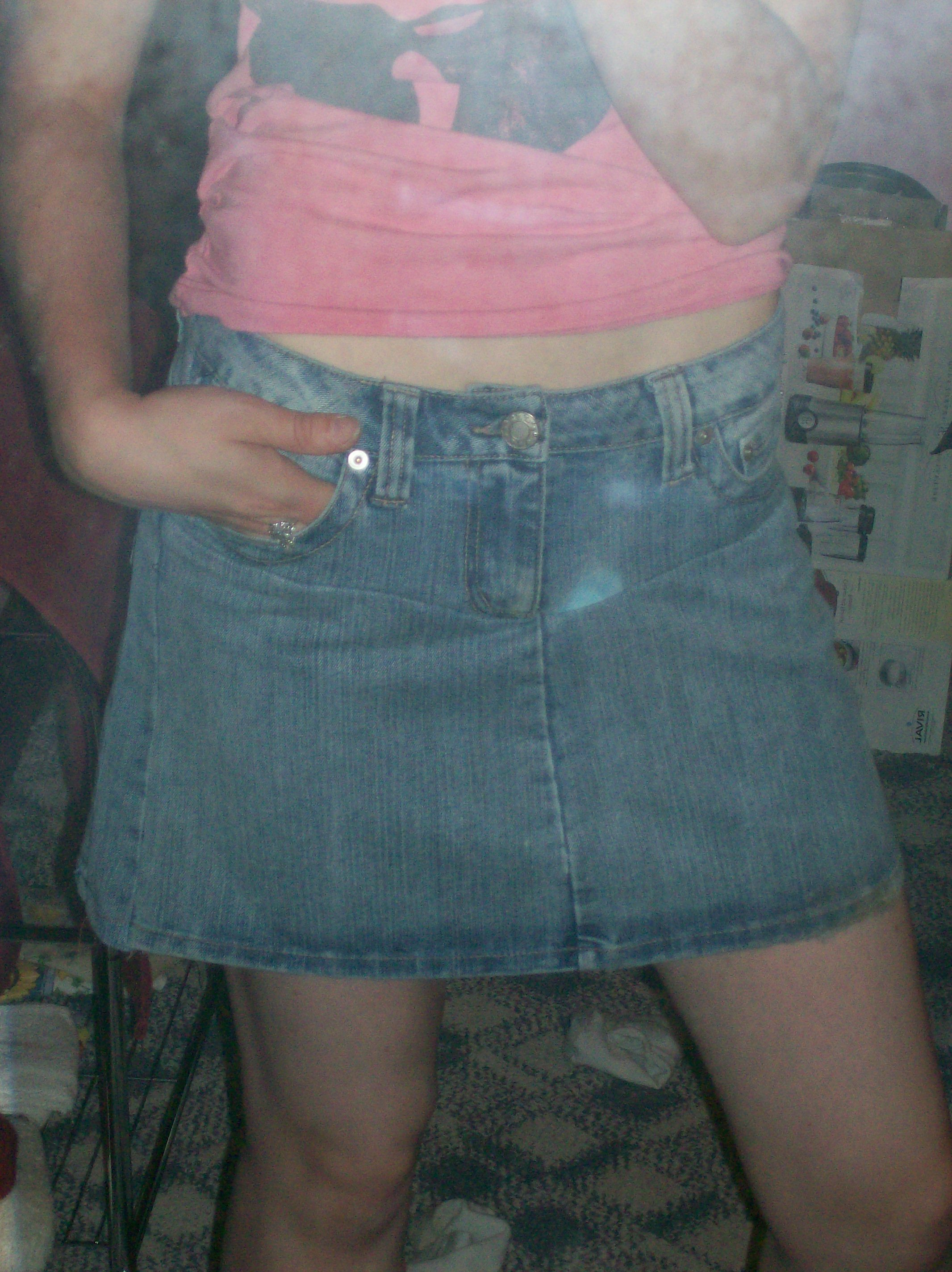 Picture of Turned Ruined Jeans Into an A-line Skirt!