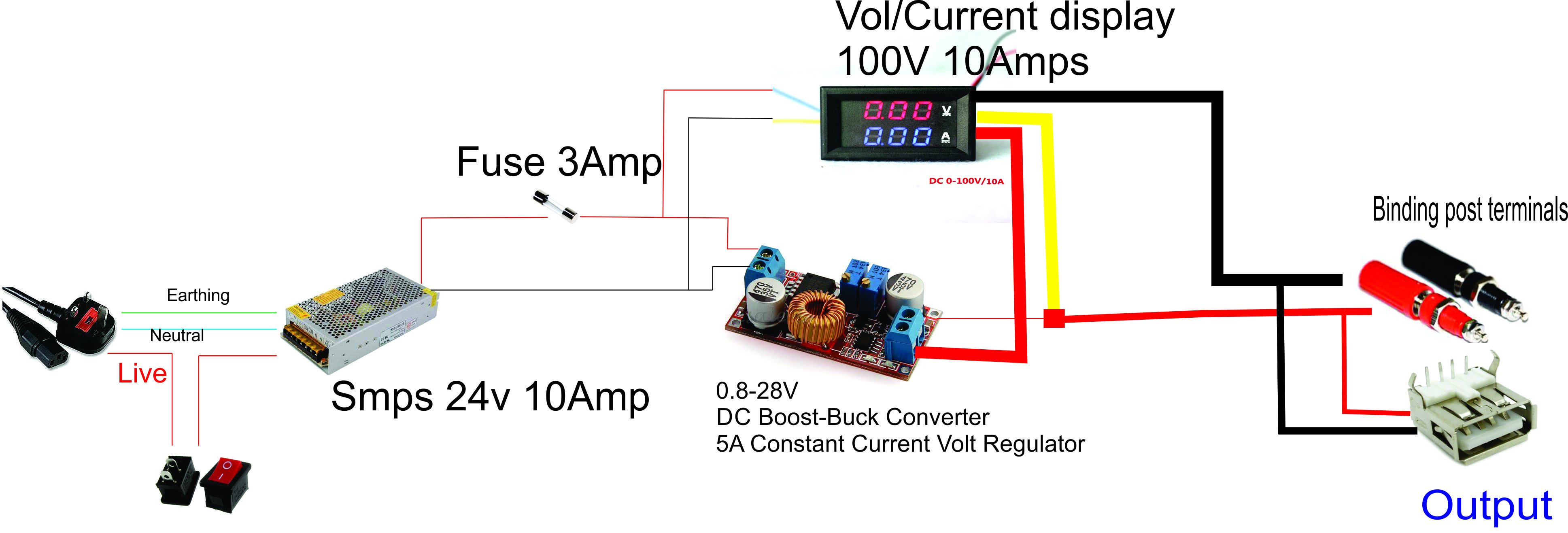 Picture of Connections for Bench Power Supply