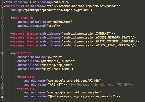 Picture of Configuring AndroidManifest.xml