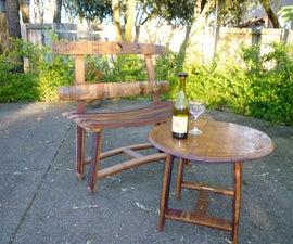 Barrel Stave Garden Bench