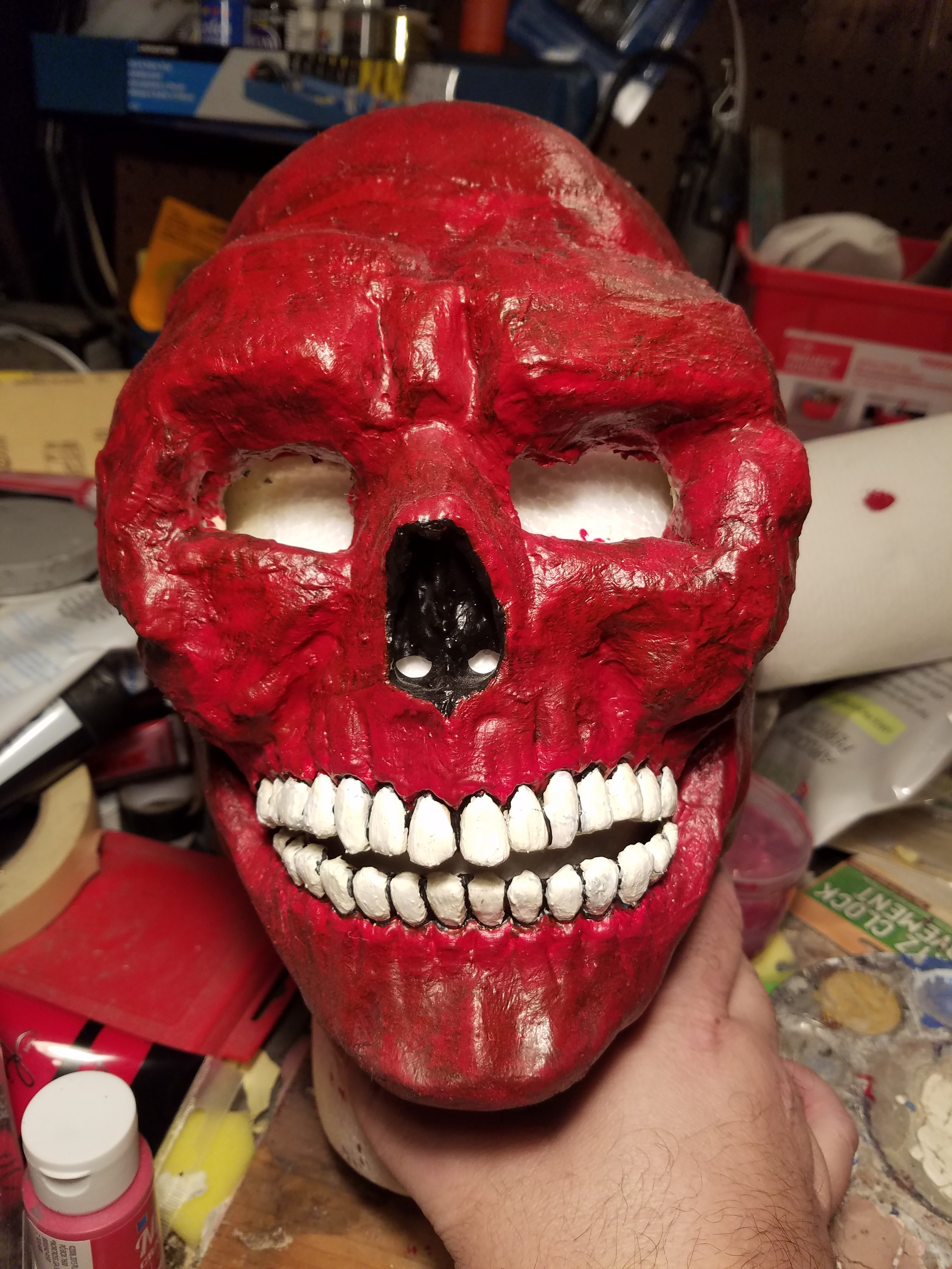 Picture of How to Make a Red Skull Mask From a Rubber Skull Mask