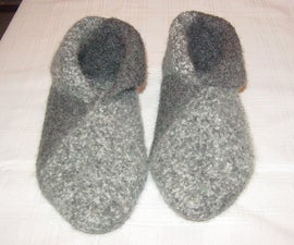 Felted Wool Slippers (crochet or Knit, Then Sew)