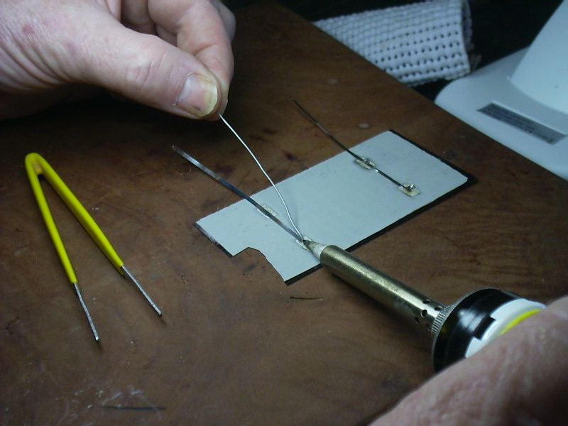 Picture of Soldering the Tab Wire to the Cells.