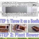 Upcycled microwave into funky flower pot