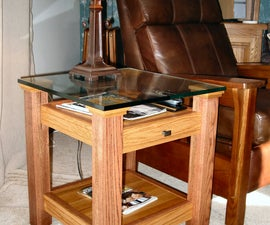 Oak & Glass Display Top End Table