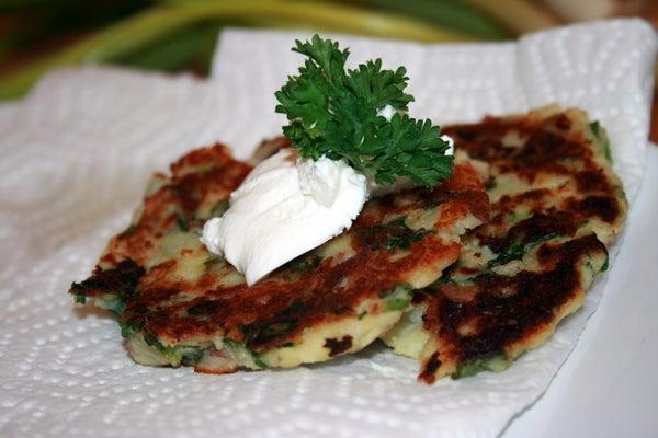 Spinach Mashed Potato Latkes
