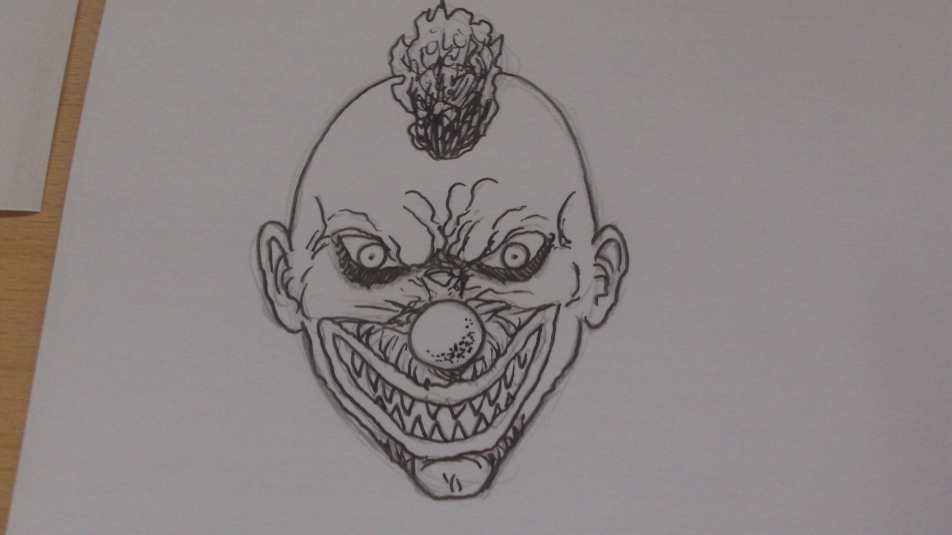 Picture of Killer Klown Face Completed and Inked