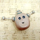 Polymer Clay Robot Head Stoneware Style
