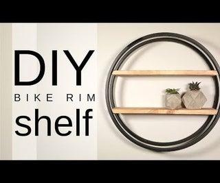DIY Industrial Bike Rim Shelf