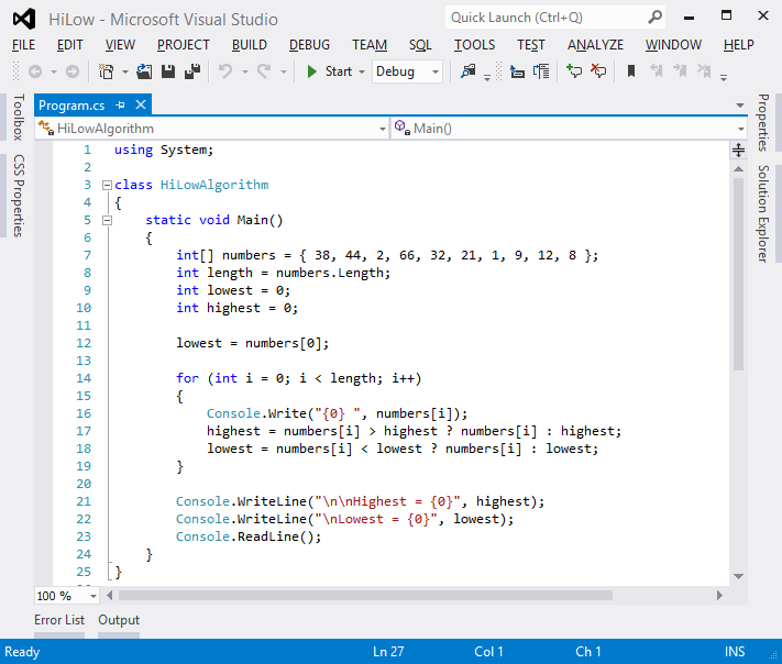 Picture of Visual Studio: Completed Code