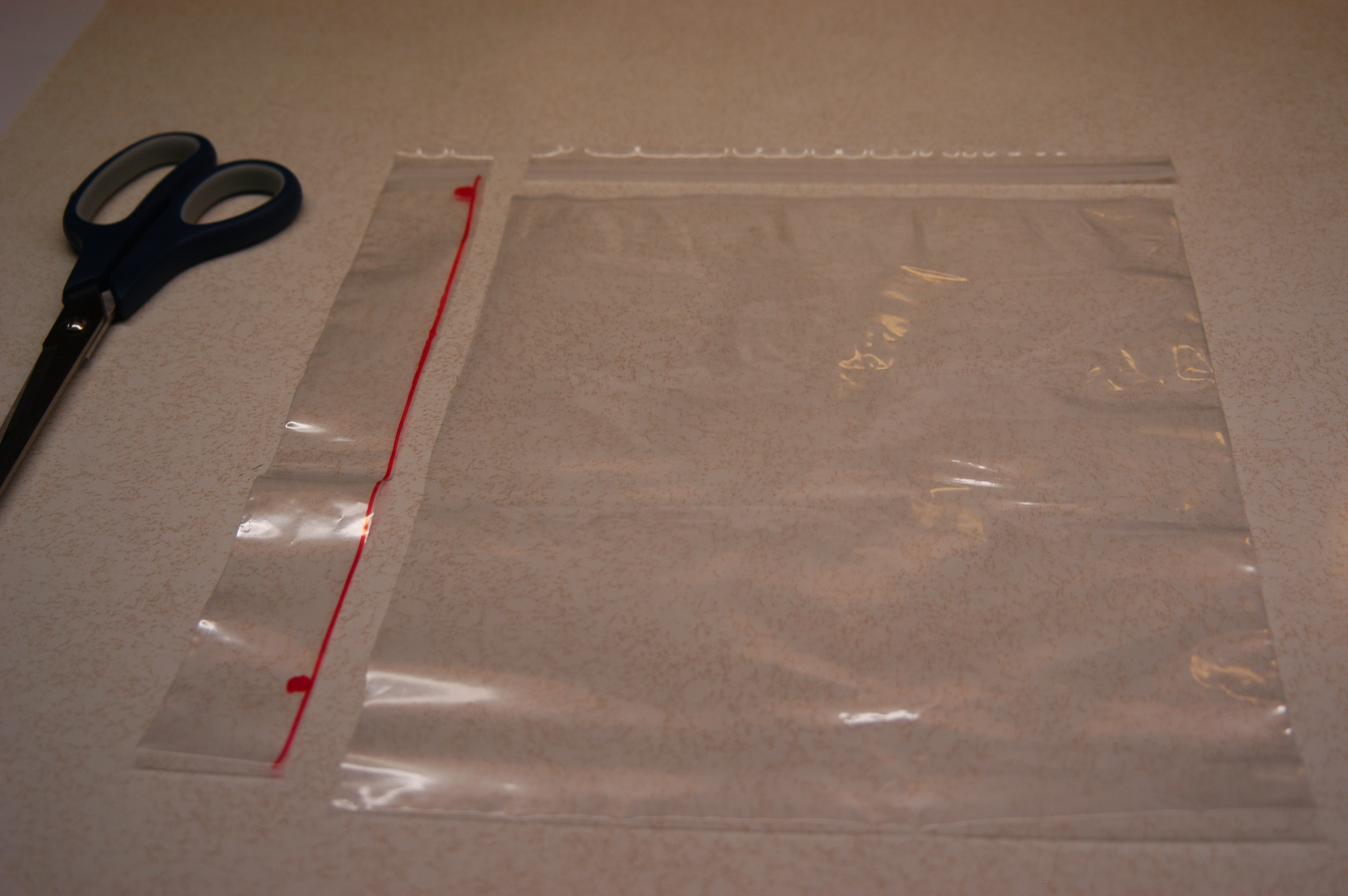 Picture of Cutting the Ziplock Bag