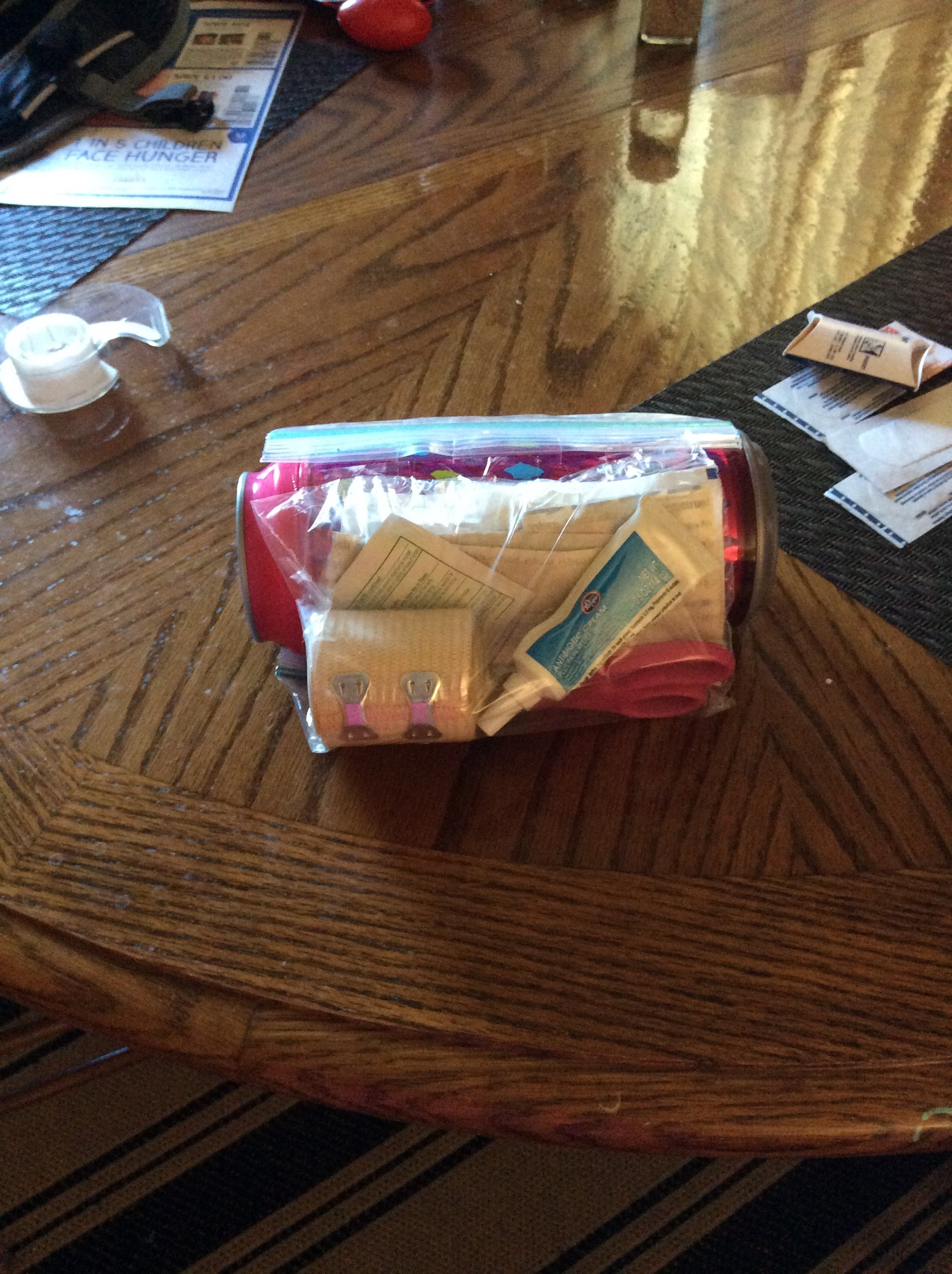Picture of Layering Food, First Aid Kit, and Water Bottle