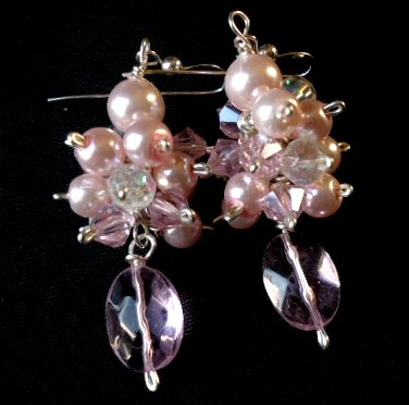 Picture of Pink Pearl Cluster Earrings Sterling Silver