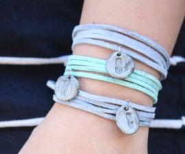 Stamped clay bead bracelets- charm bracelet for mom