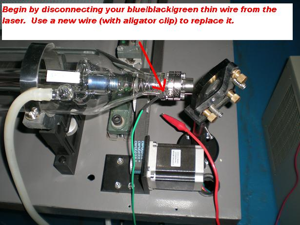 Picture of D. Disconnect Thin Wire (colored Blue or Black or Green) From the Laser.