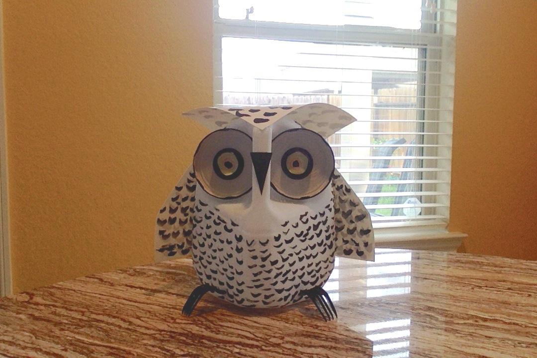 Picture of A DIY Milk Jug Snow Owl