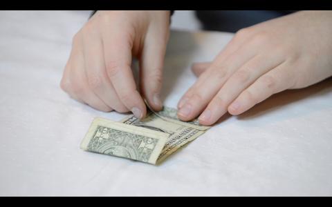 Origami Flower: How to Fold the Dollar Bills - Fold 2
