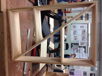 Cross-Beam Wooden Shelf