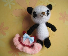 Crochet  panda Amigurumi girl with pink dress