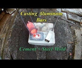 Casting Aluminum Bars. Cement and Steel Mold