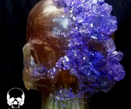 100% Edible Life Sized Violet Crystal Encrusted Sugar Skull