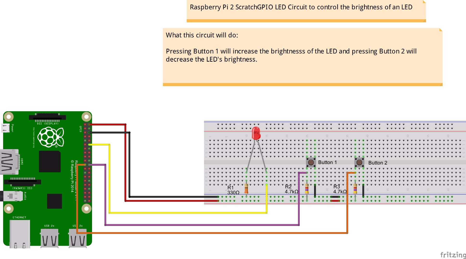 Picture of PWM Based LED Control Using Push Buttons, Raspberry Pi 2 and Scratch