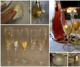 Gold Leafed Champagne Flutes