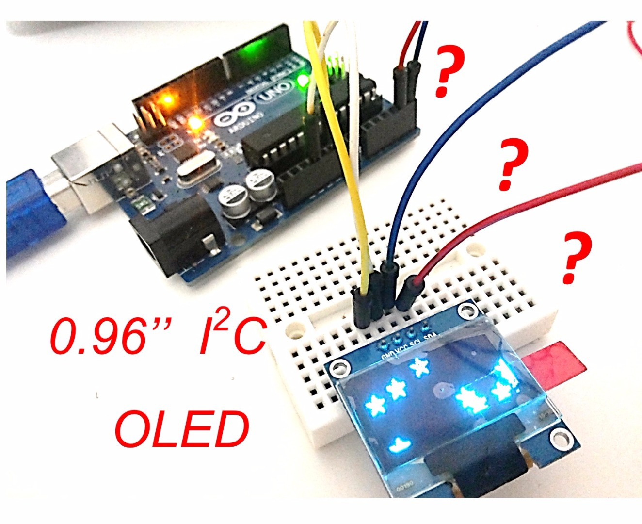 "Picture of The First Usage of 0.96"" I2C OLED Display With Arduino UNO"