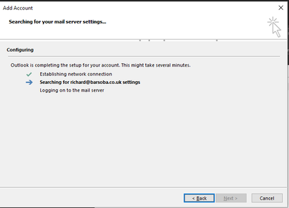 Allow Outlook to Find the Server Settings for You.