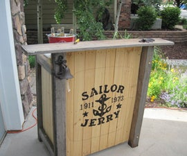 Pallet and Recycled Wood Patio Bar