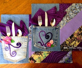 RECYCLED JEAN PLACEMATS- Roll up and you're ready for a picinc