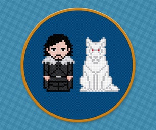 Jon Snow and Ghost - Game of Thrones - Free PDF Cross Stitch Pattern