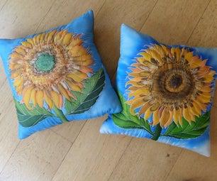 Silk Painting Sunflower Cushions