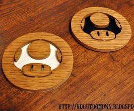 Mario Mushroom Wooden Coasters