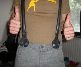 Recycled bike tube suspenders