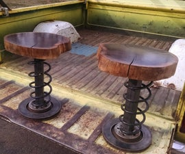 Walnut and Vw Parts Stools/ Side Tables