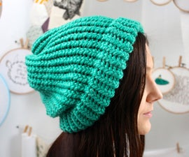 knit a slouchy hat on a round loom