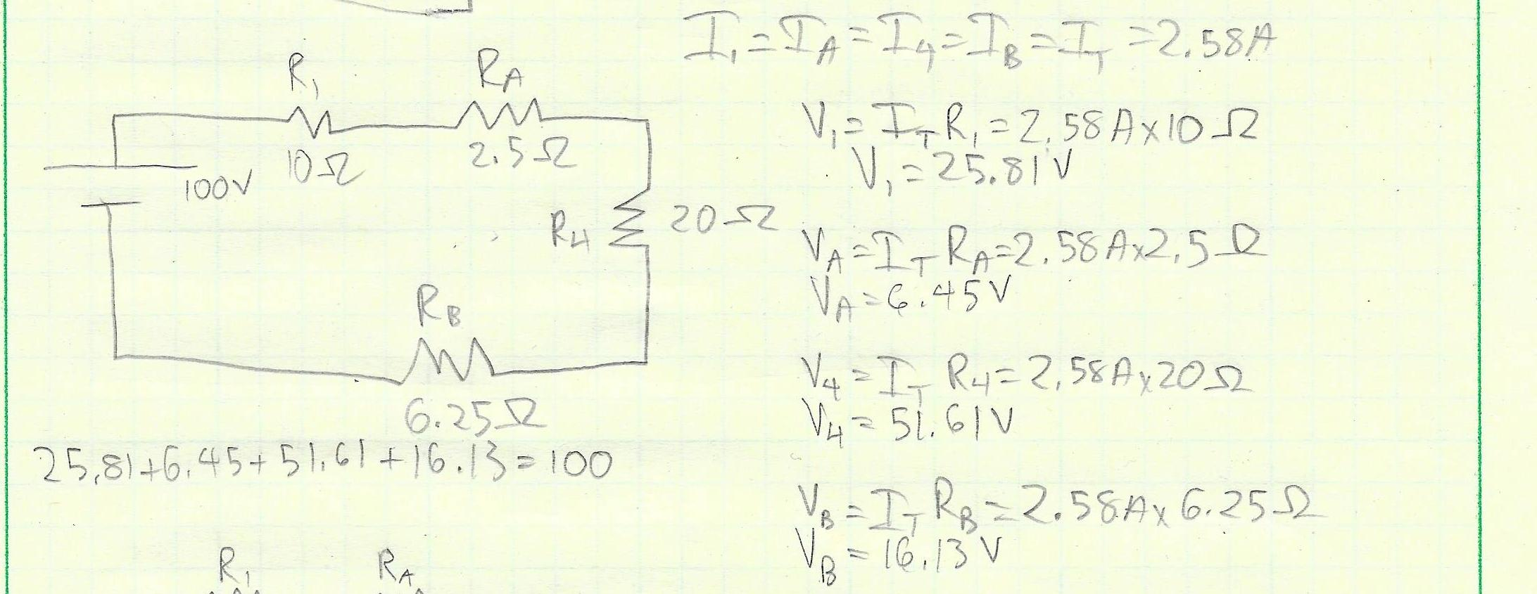Picture of Work Back Up the Diagrams With the Information From the Reduced Equivalent Circuit to Solve for the Power, Current and Voltage Consumption of Each Resistor