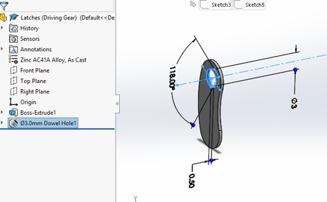 Picture of Designing the Latches in Solidworks