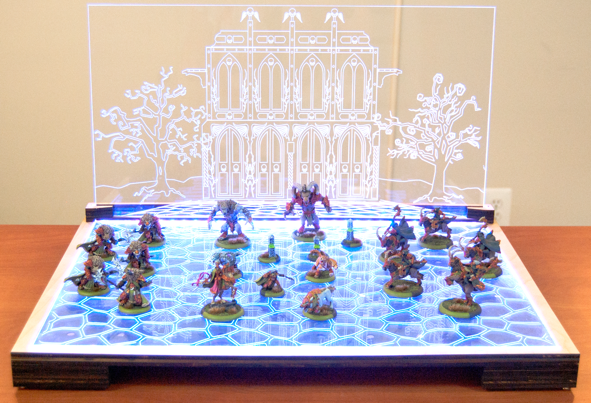 Picture of How to Design and Laser Cut a Lit Display Board for War-gaming Miniatures