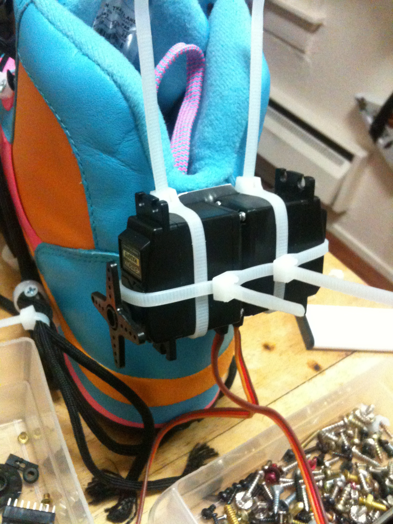 Picture of Mount the Servos, Battery, and Arduino