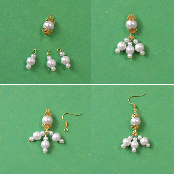Picture of Finish the White Pearl Beads Dangle Earrings