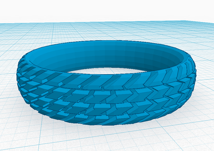 3D Print 'Wheel Tyre Tread Style' Ring (Size S)