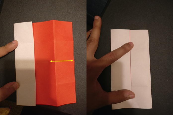 Picture of Unfold. Now Fold the Top and Bottom Crease to the Center.
