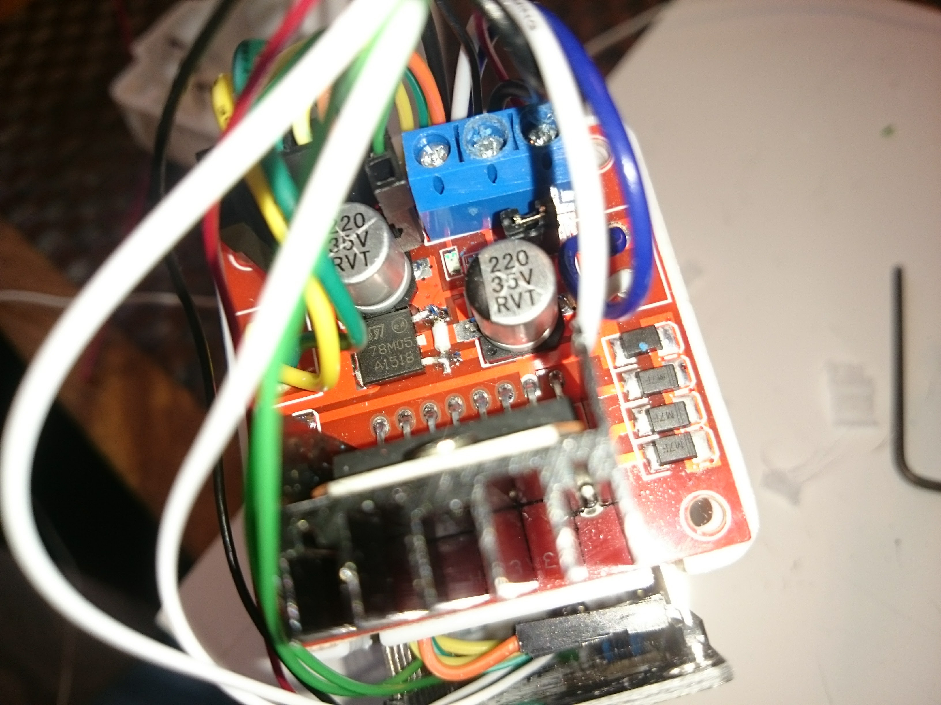 Picture of Connecting the Stepper Motor Cables and Power to the Stepper Driver Board