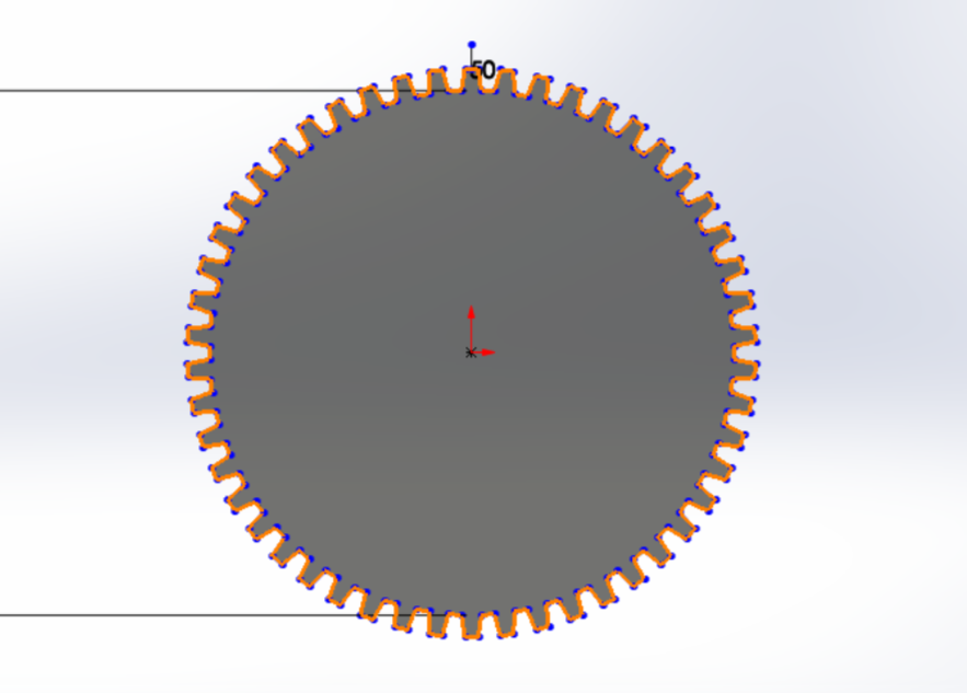 """Picture of Use """"Circular Pattern"""" to Surround the Entire Circle With 50 Gear Teeth, Then Use """"Trim Entities"""" to Trim the Edge of the Circle"""